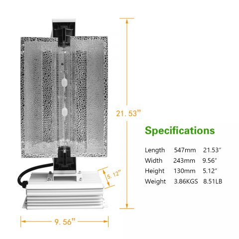 CMH 630w Ceramic Metal Halide Complete Lamp Fixture System for Greenhouse Plants and Medicine Cannabis Growth 347V Full Spectrum Grow Light 3